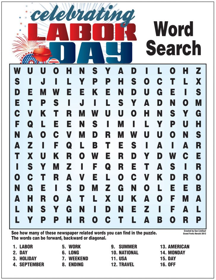 Labor Day Printable Word Search