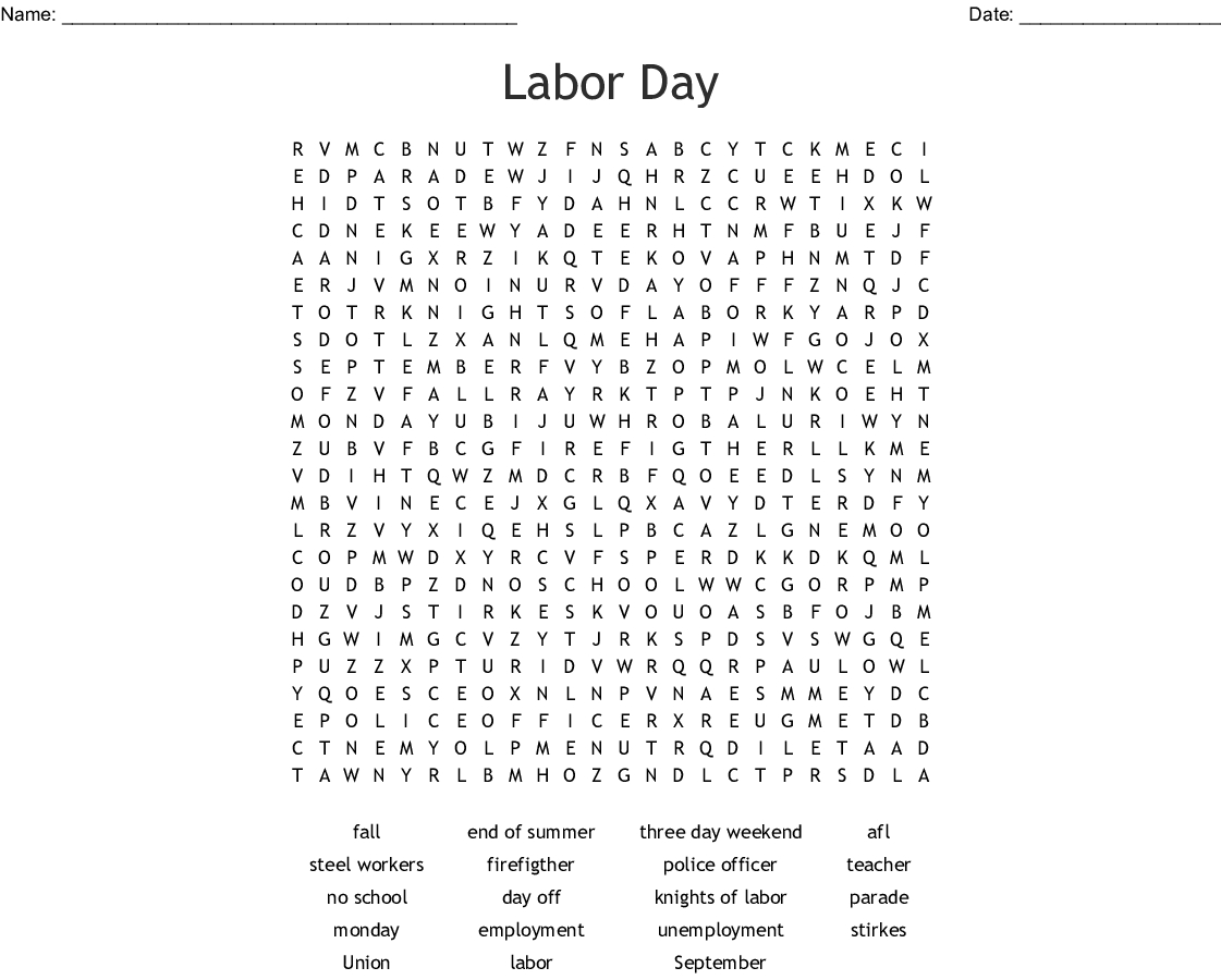 Labor Day Word Search - Wordmint