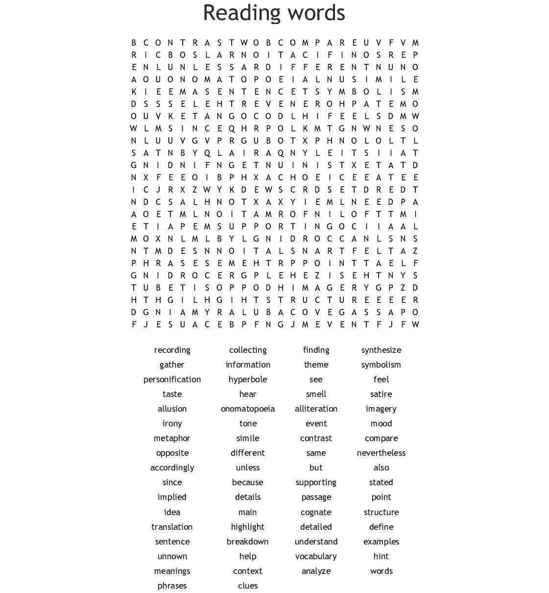 Language Arts Word Search - Wordmint