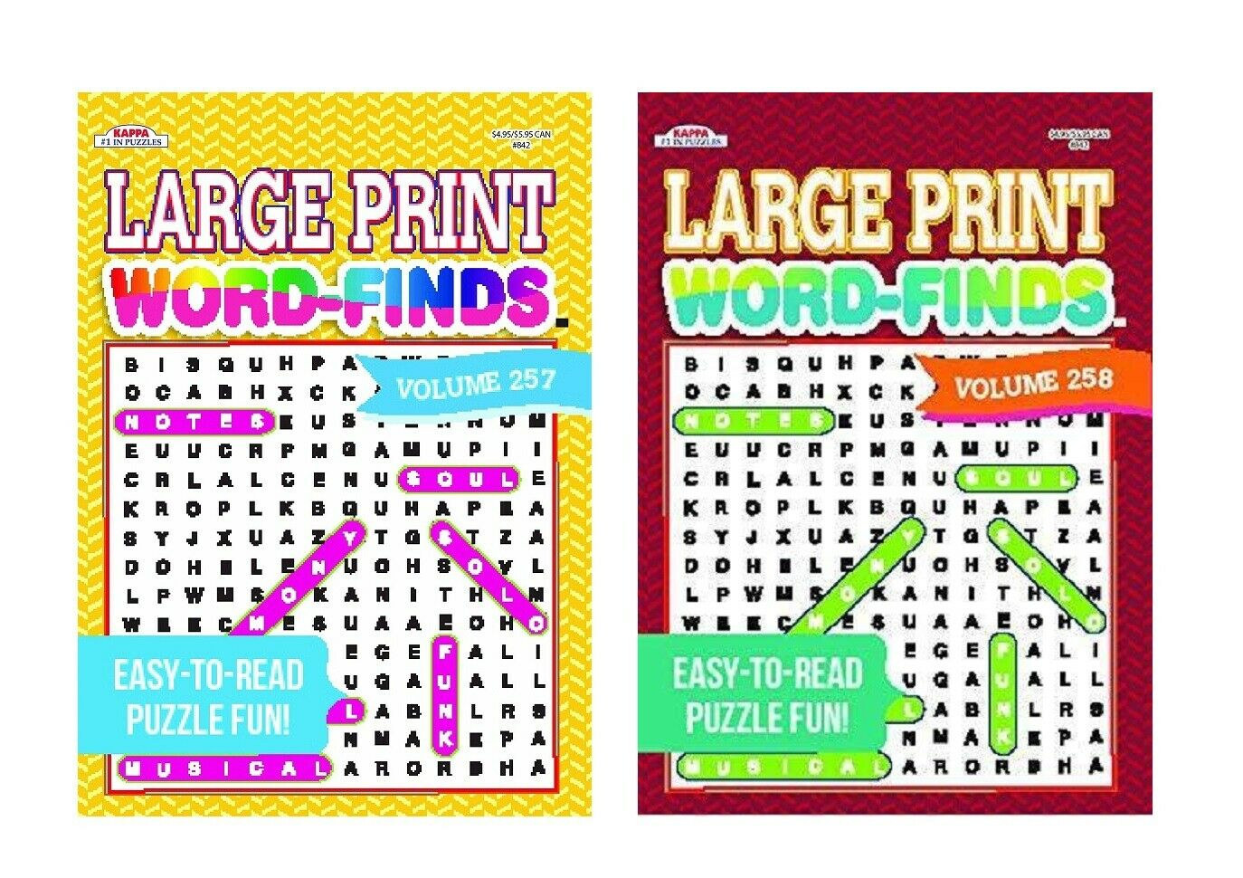 Large Print Word Search Puzzle Book Easy To Read Puzzles Books Vol 257 &  258 Set