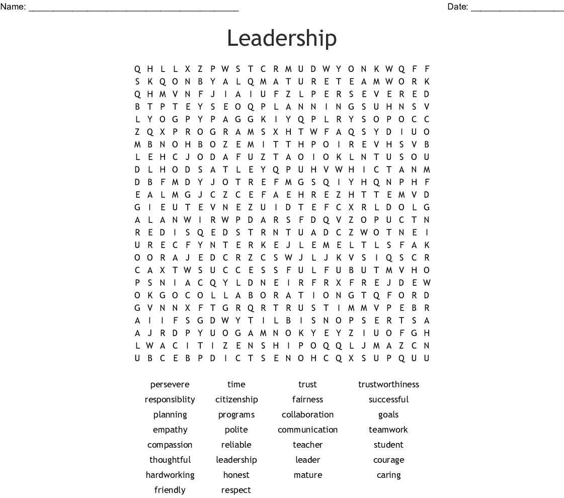 Leadership Word Search - Wordmint