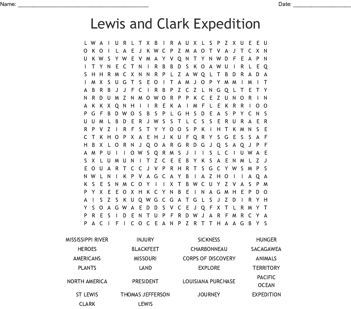Lewis And Clark Word Search - Wordmint