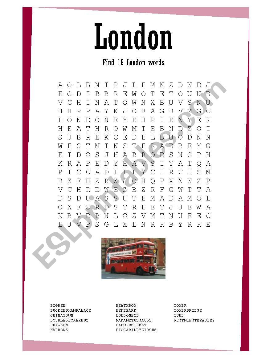 London Wordsearch - Esl Worksheetjunisun