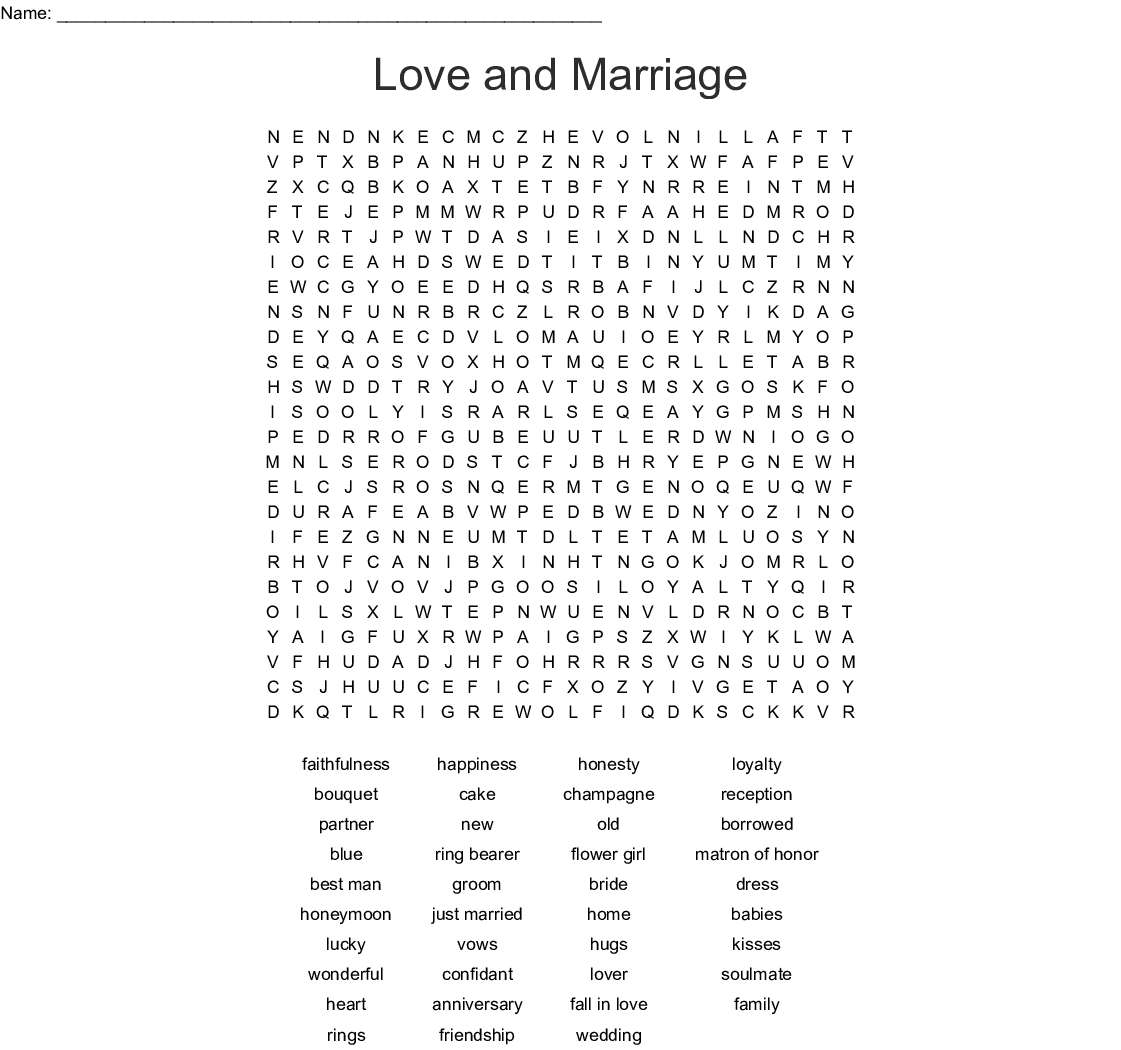 Love And Marriage Word Search - Wordmint