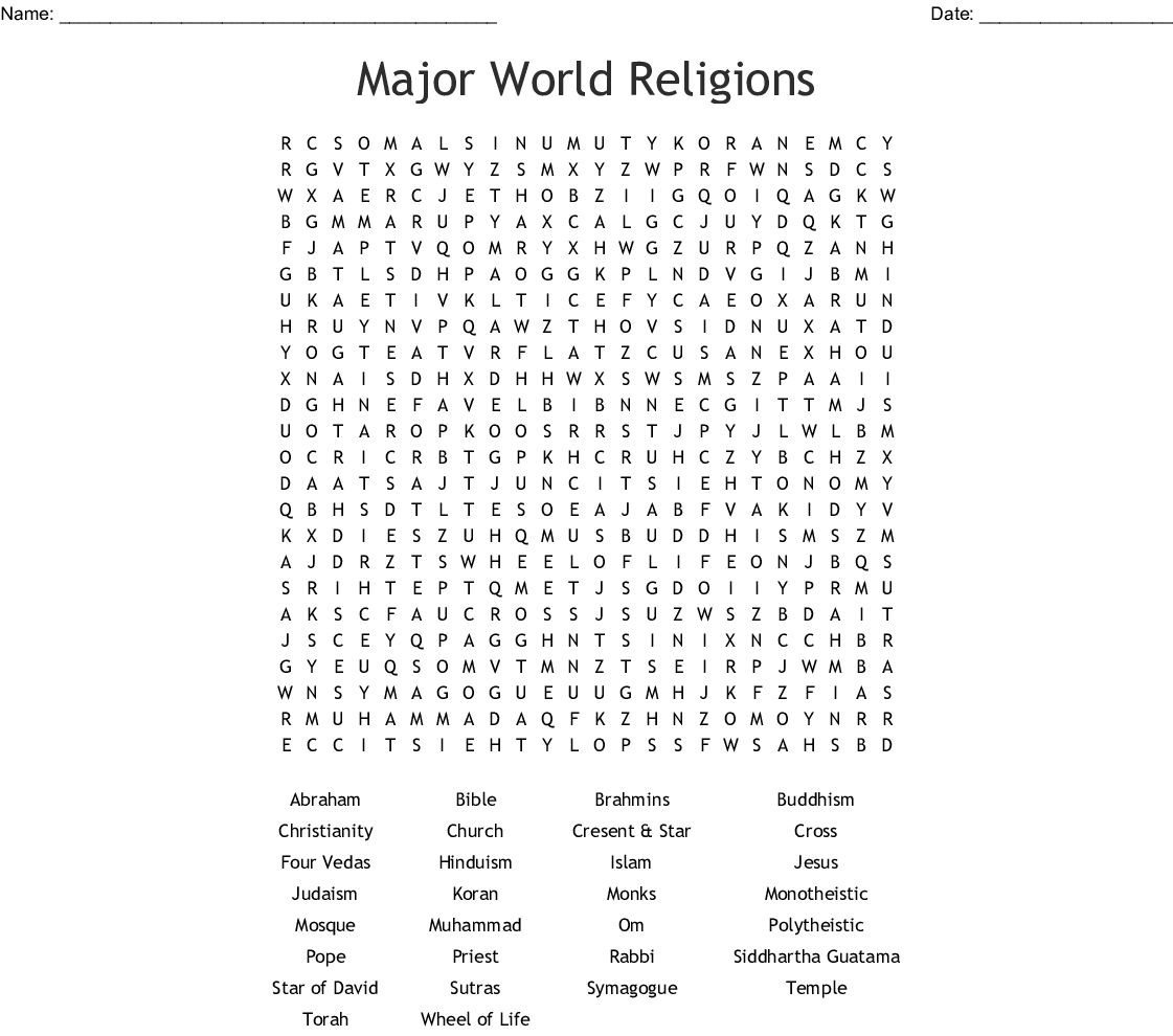Major World Religions Word Search - Wordmint