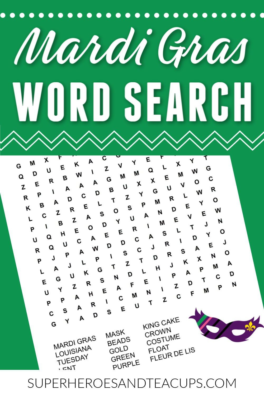 Mardi Gras Word Search Free Printable | Mardi Gras, Free