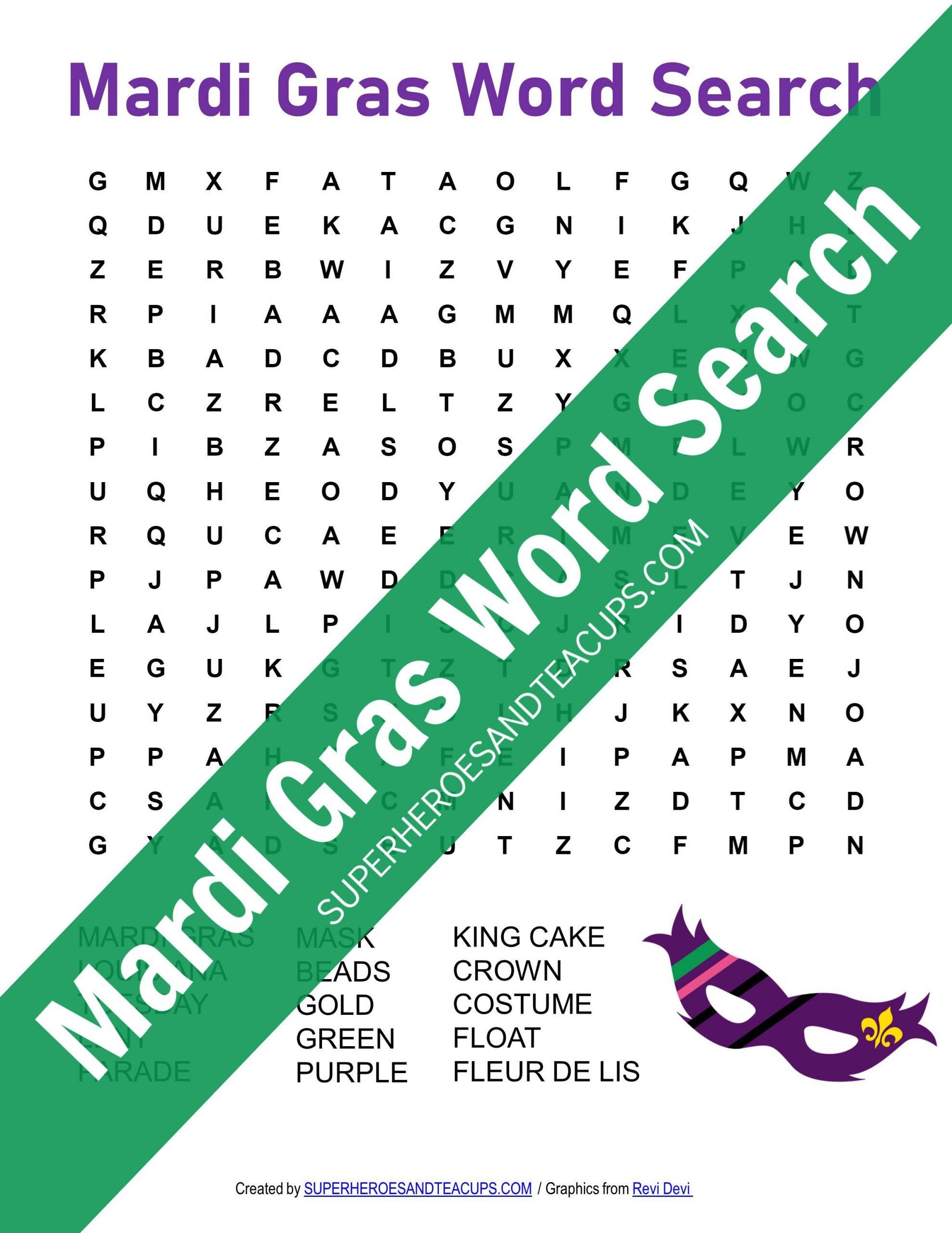 Mardi Gras Word Search Free Printable | Superheroes And Teacups
