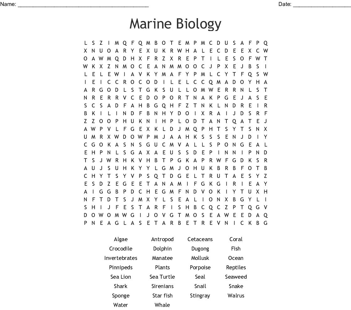 Marine Biology Word Search - Wordmint