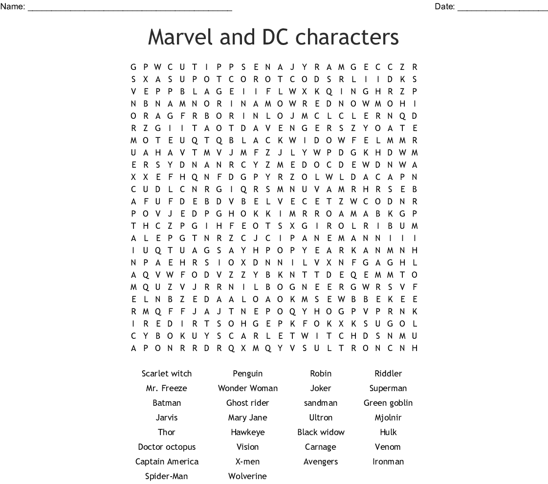 Marvel And Dc Characters Word Search - Wordmint