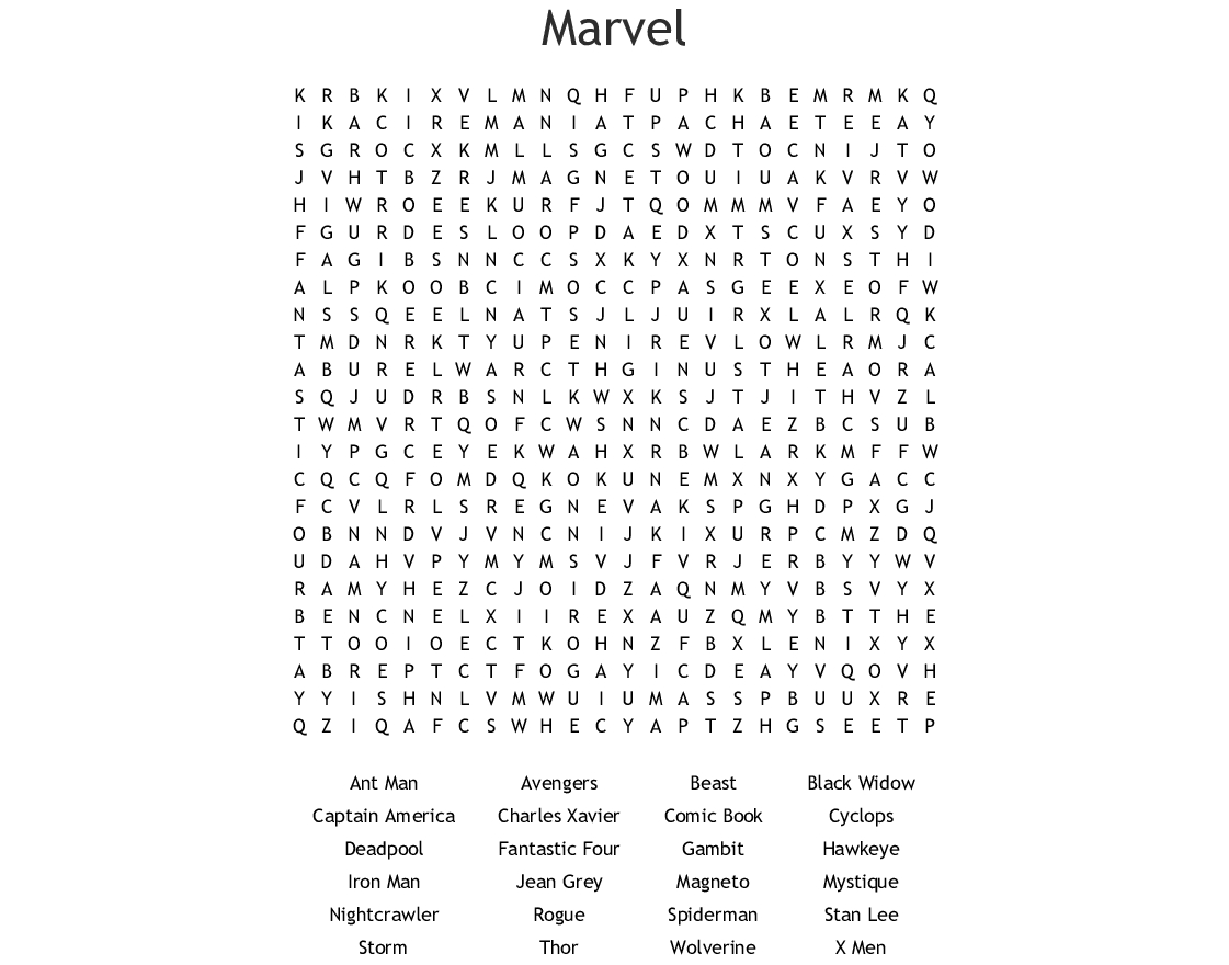 Marvel Word Search - Wordmint