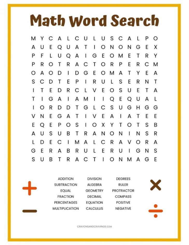 Math Word Search Printable