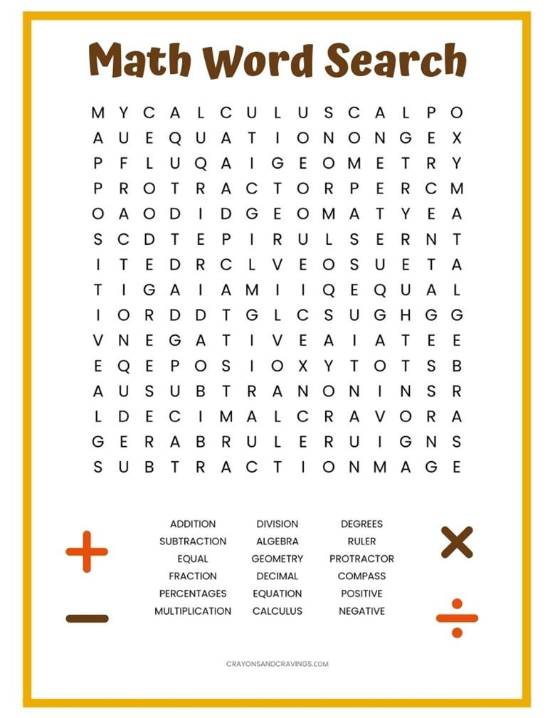 Math Word Search Free Printable