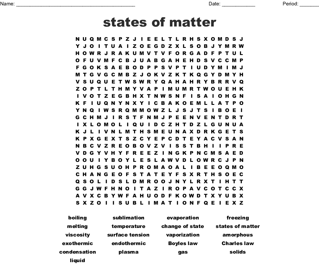 Matter Vocabulary Word Search - Wordmint
