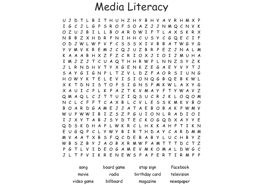 Media Literacy Word Search - Wordmint