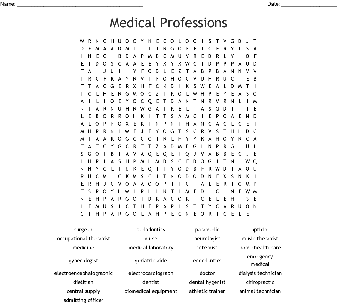 Medical Professions Word Search - Wordmint