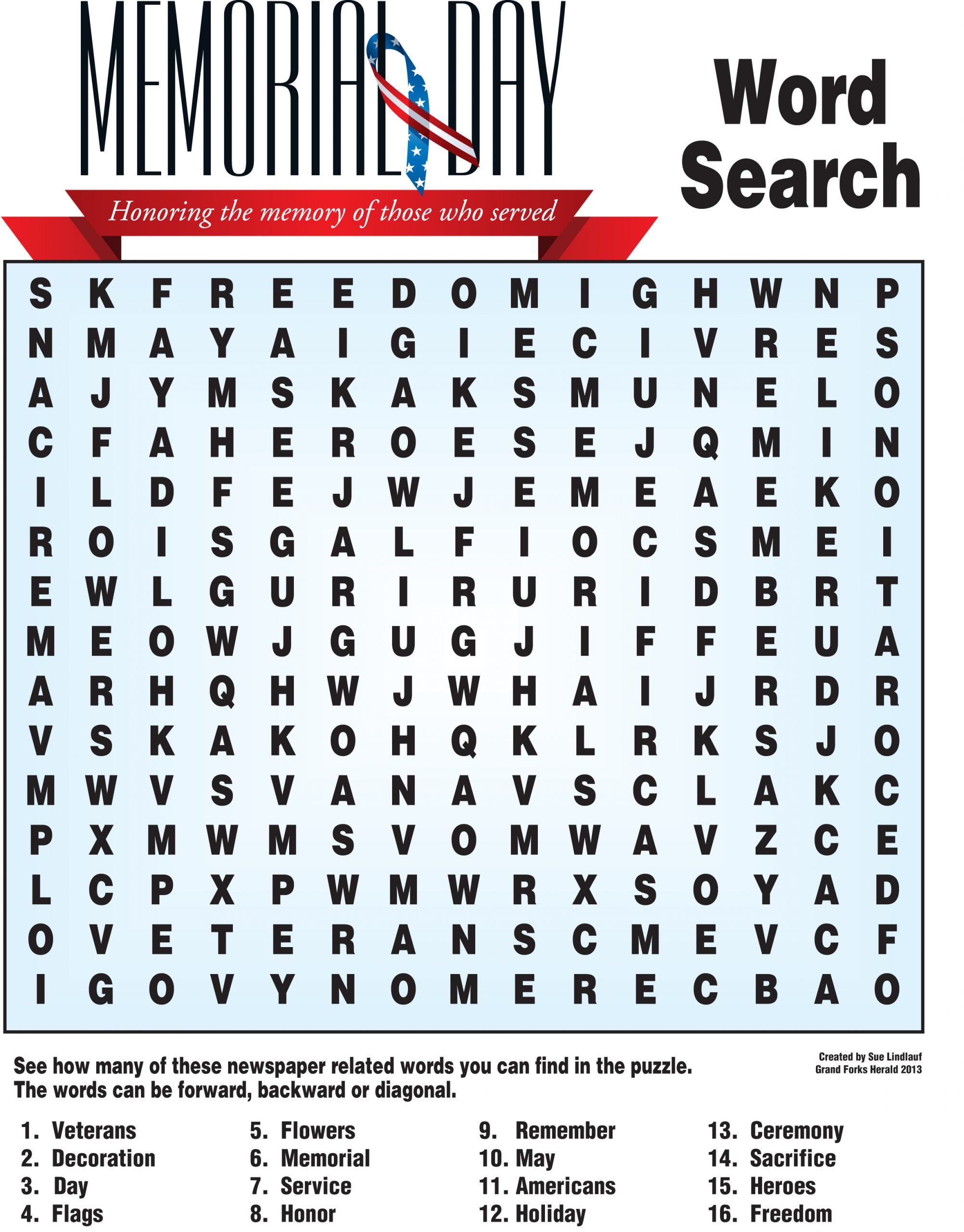 Memorial Day Word Search | Nie Rocks!