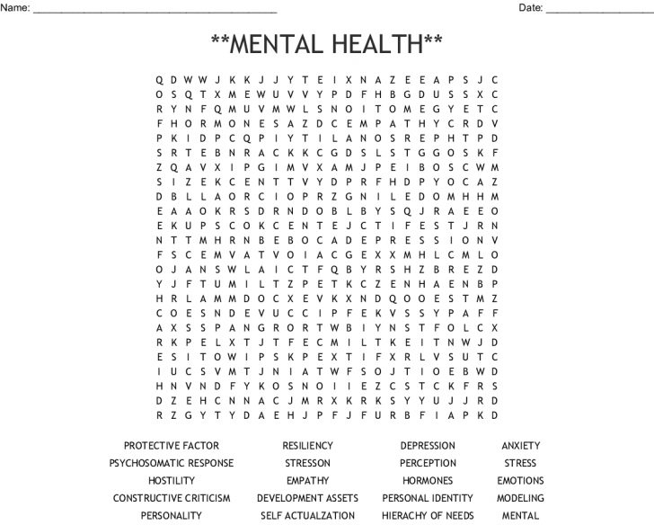 Mental Health Word Search Printable