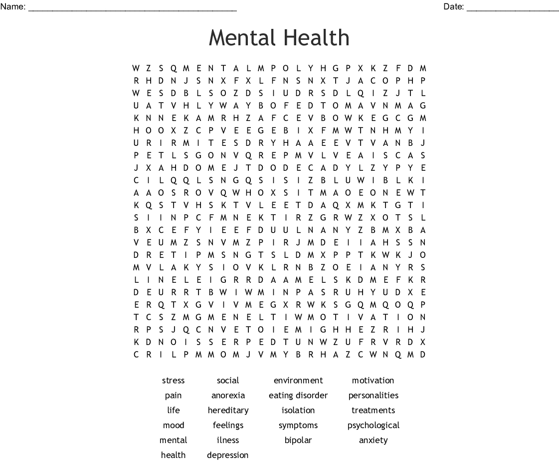 Mental Health Word Search - Wordmint