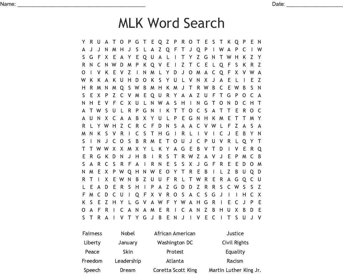 Mlk Word Search - Wordmint