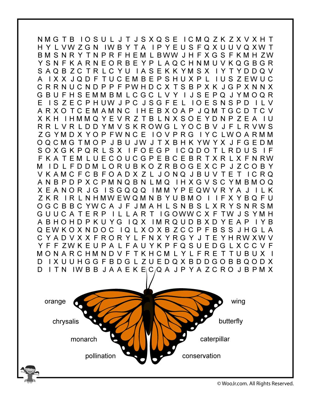 Monarch Butterfly Word Search For Kids | Woo! Jr. Kids