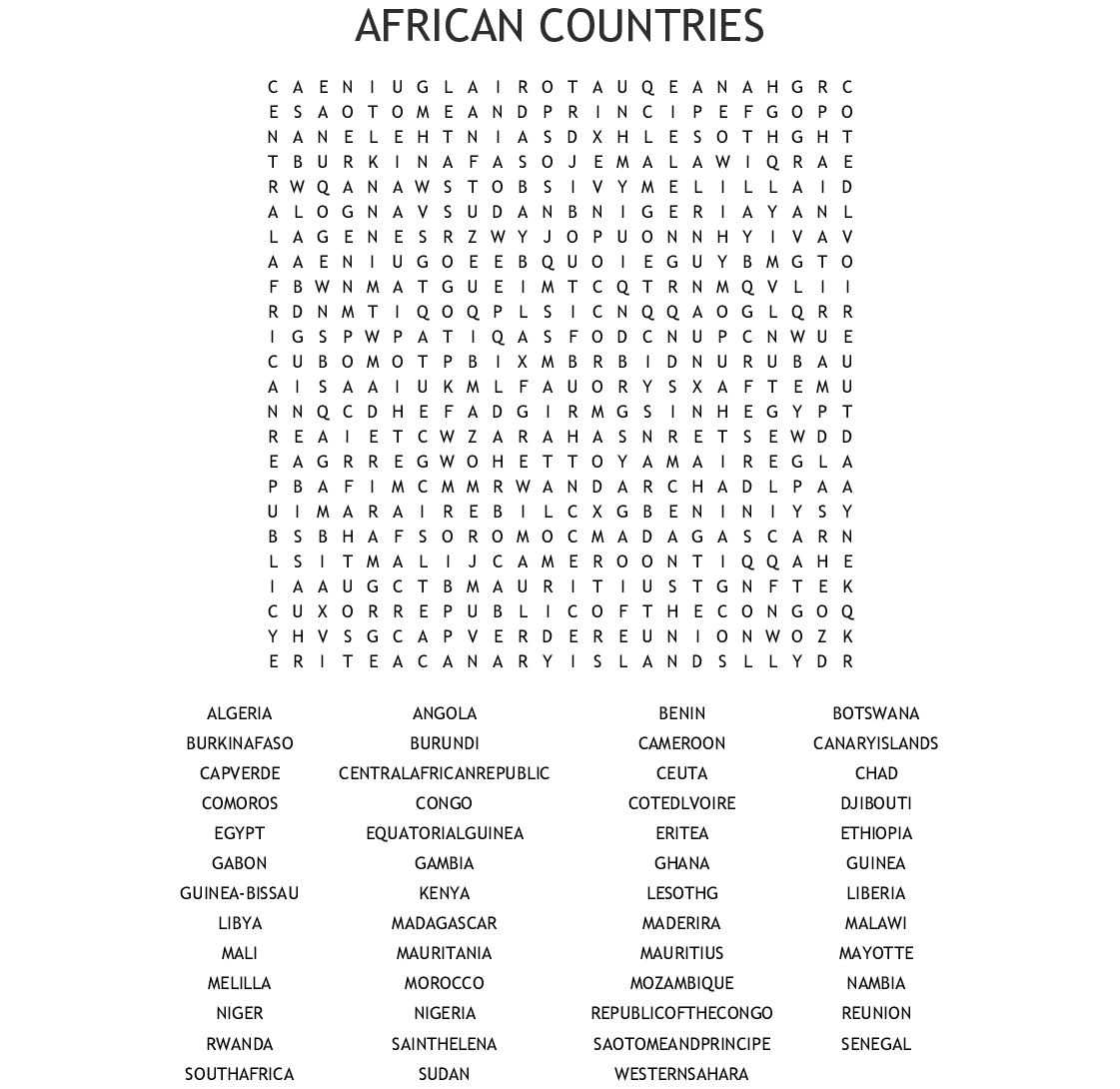 Most Populated Countries Of The World Word Search - Wordmint