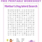 Mother's Day Word Search Free Printable For Kids | Mother's