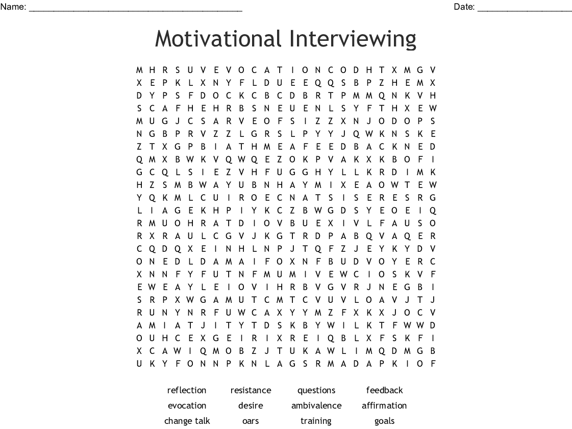 Motivational Interviewing Word Search - Wordmint