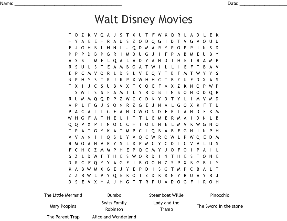 Movies Crosswords, Word Searches, Bingo Cards - Wordmint