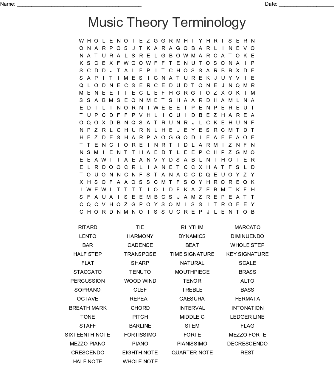 Musical Terms Word Search - Wordmint