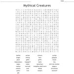Mythical Creatures Word Search   Wordmint