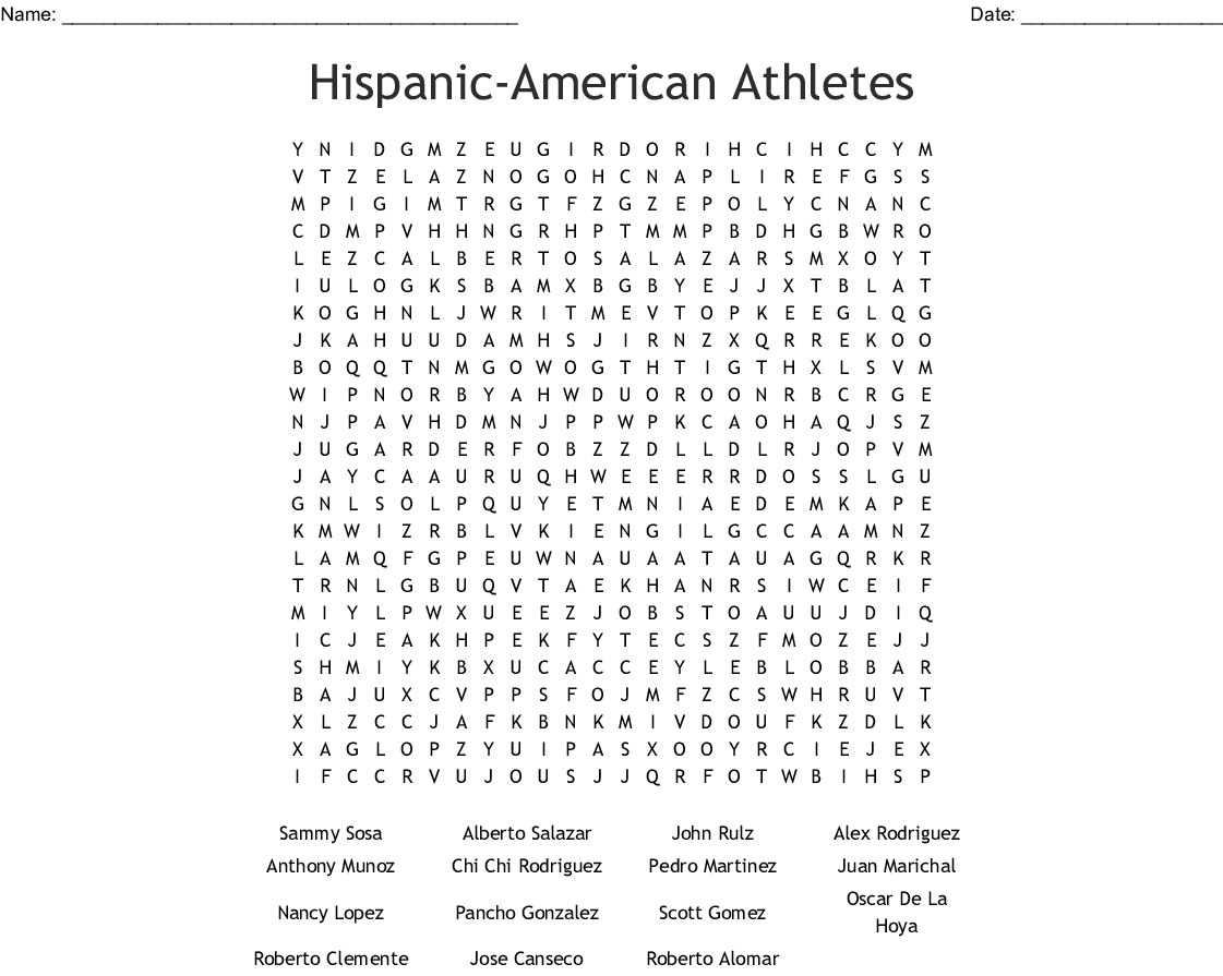 National Hispanic Heritage Month Word Search - Wordmint