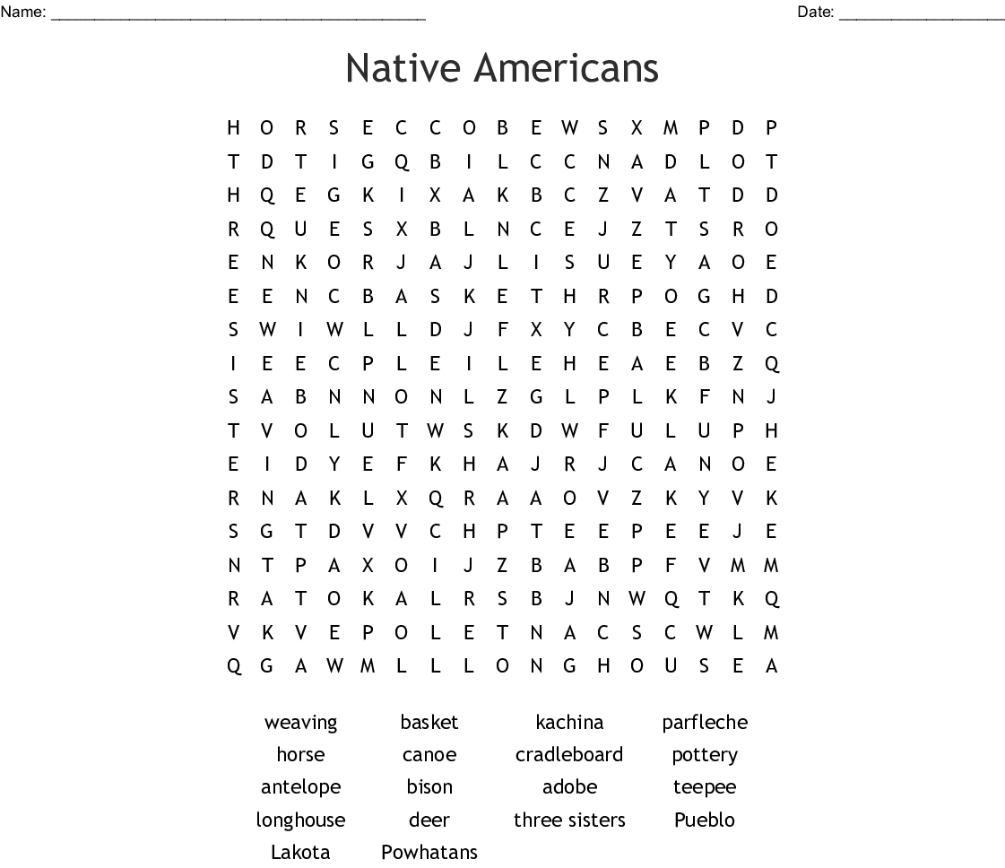 Native Americans Word Search - Wordmint