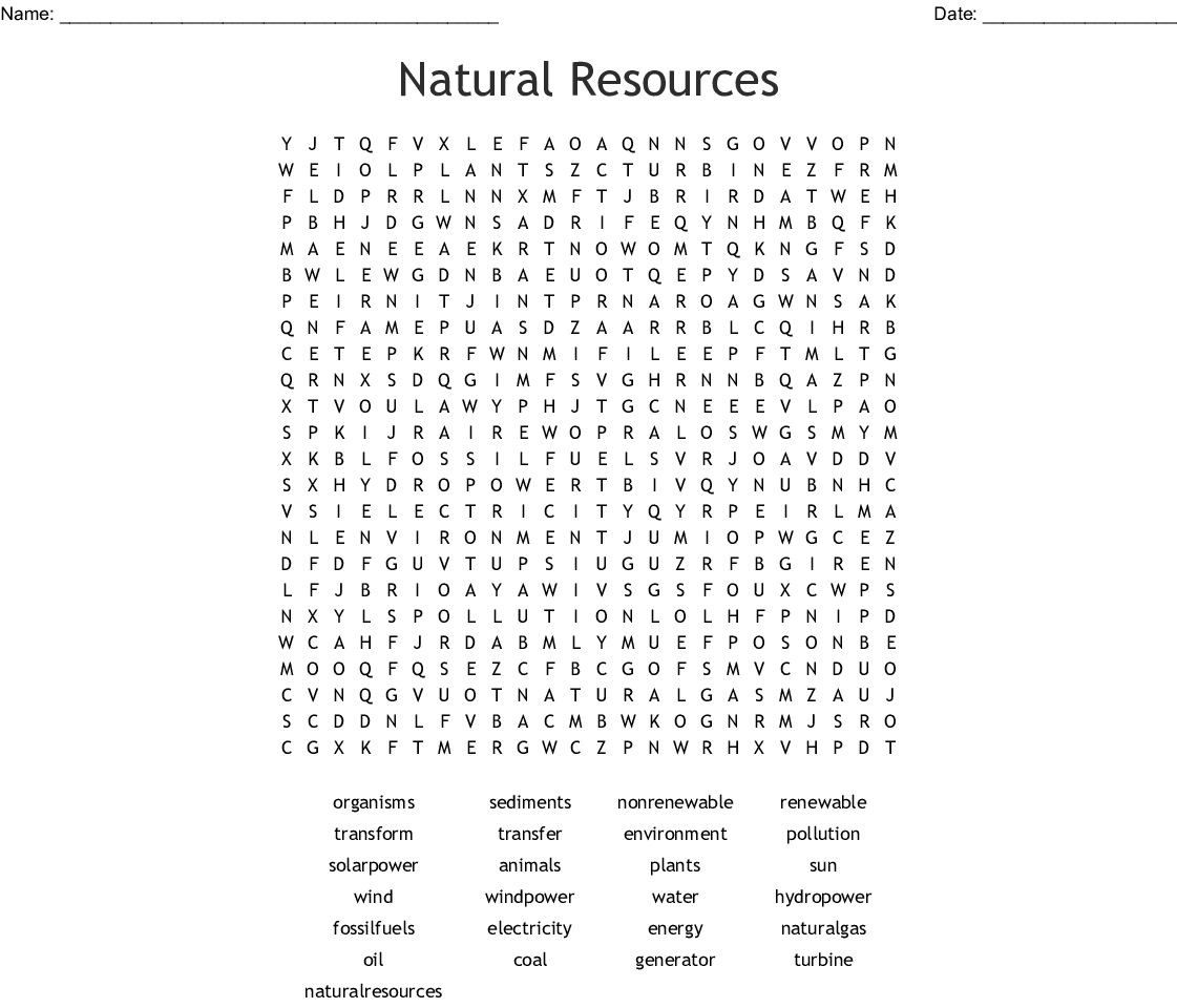 Natural Resources Word Search - Wordmint