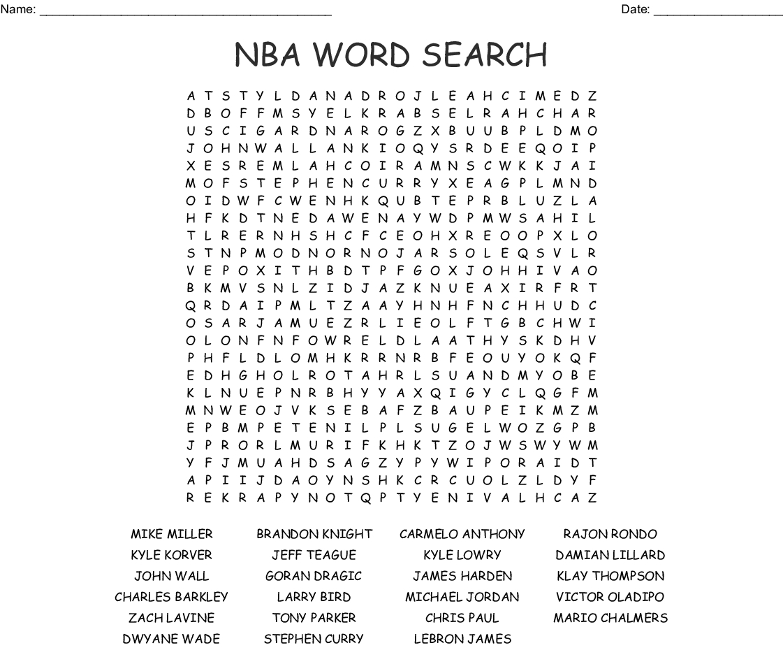 Nba Word Search - Wordmint