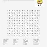 New Spongebob Word Search Free Squarepants Templates