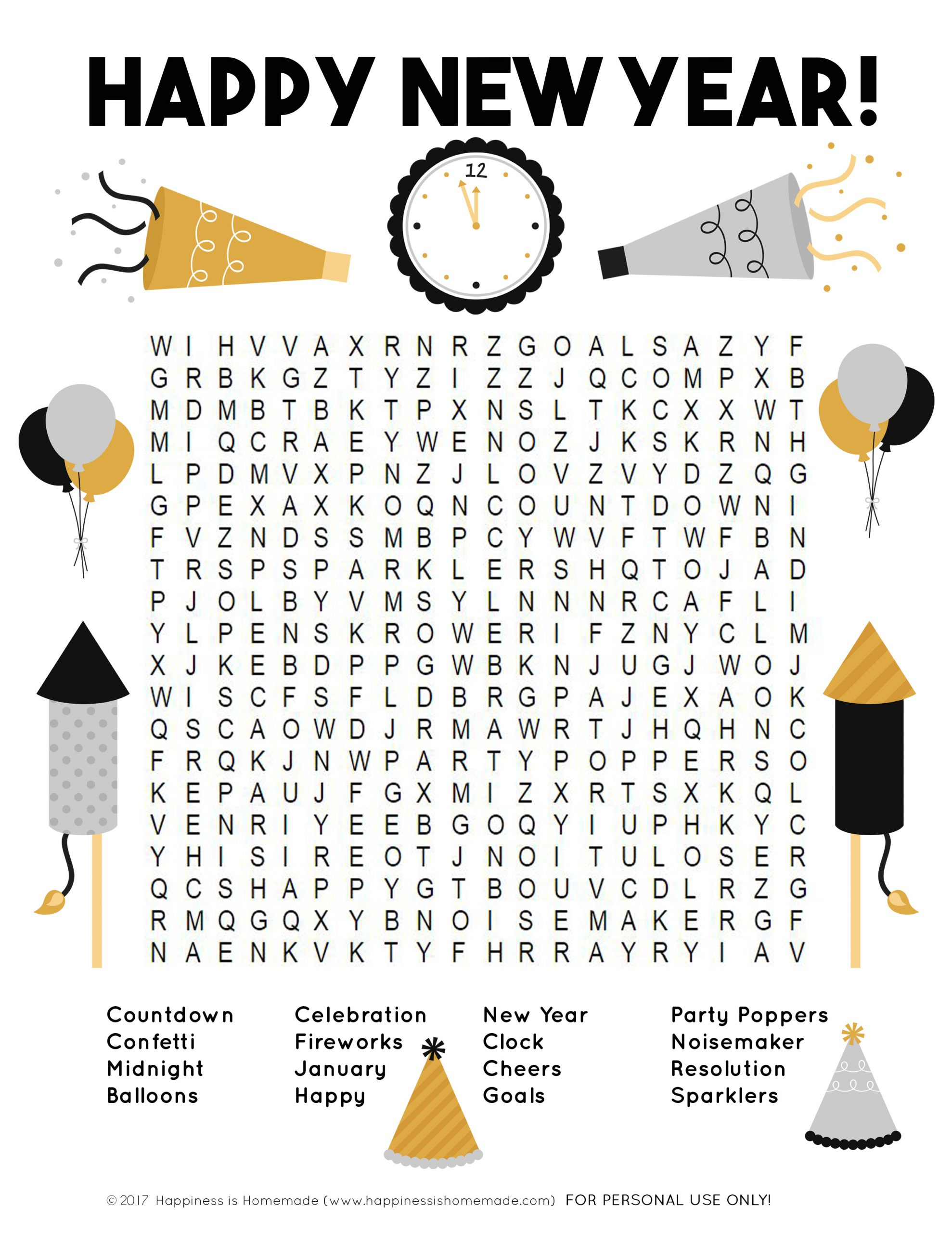 New Year's Word Search Printable - Happiness Is Homemade