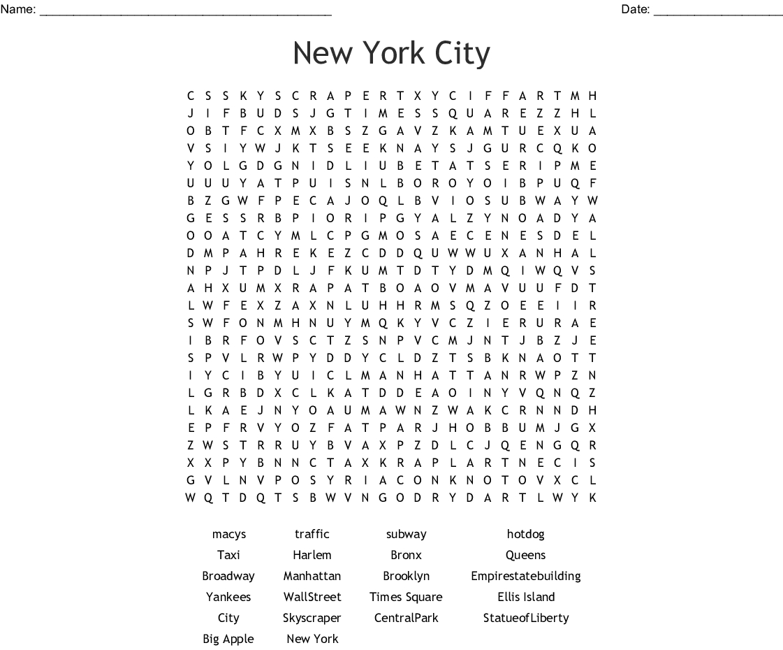 New York Word Search - Wordmint