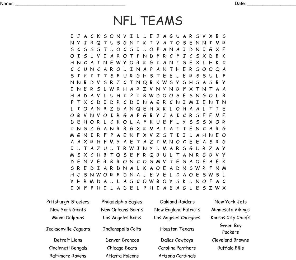 Nfl Football Teams Word Search - Wordmint