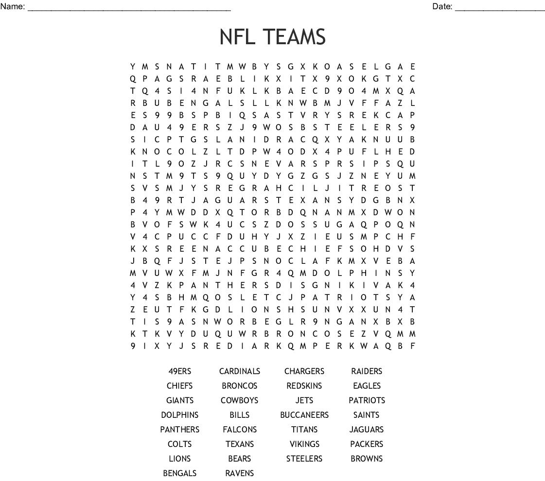 Nfl Teams Word Search - Wordmint