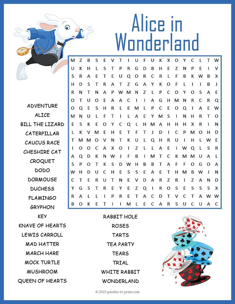 No Prep Alice In Wonderland Word Search Fun | Alice In