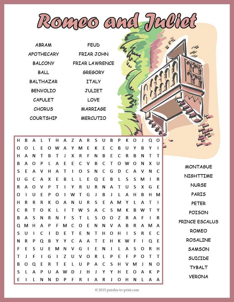 No Prep Romeo And Juliet Word Search Fun | Romeo, Juliet
