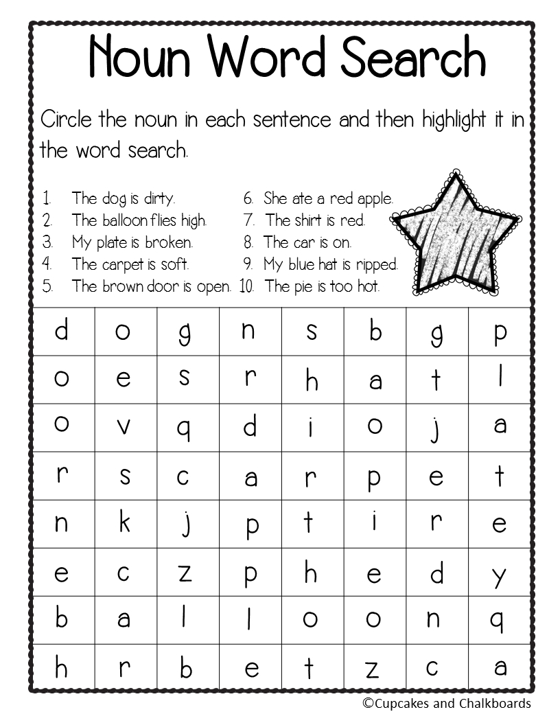 Noun Word Search - Identifying Nouns And Wordsearch | First