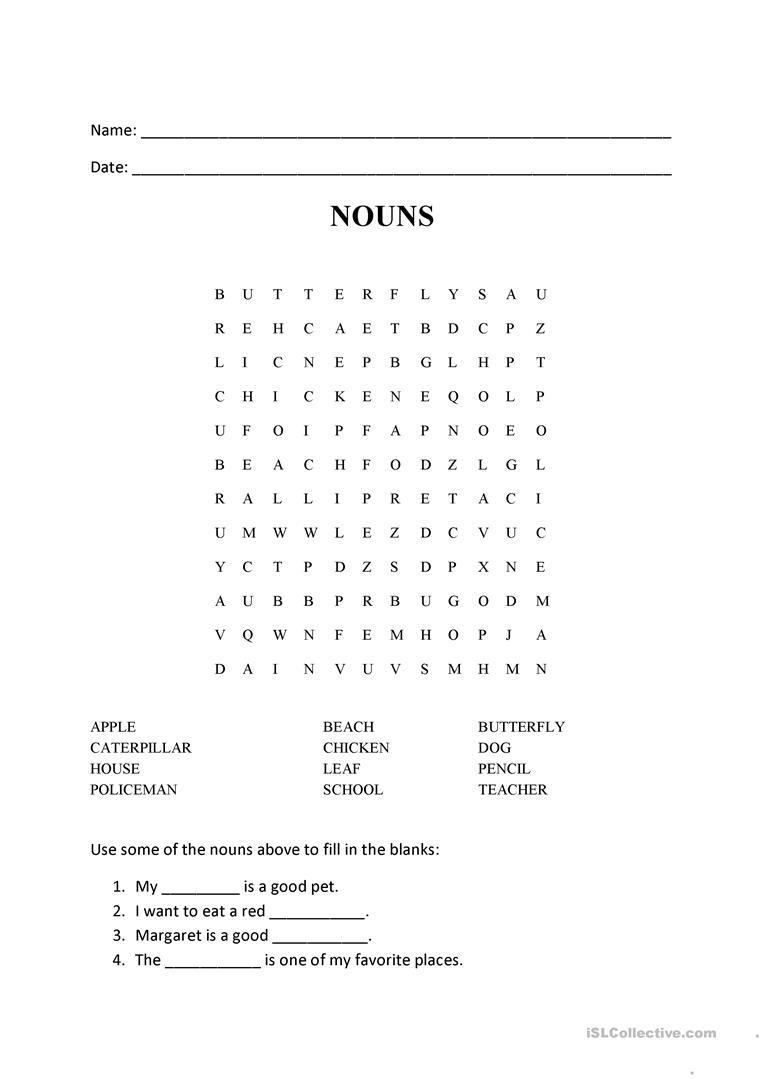 Nouns - Word Search Puzzle - English Esl Worksheets For