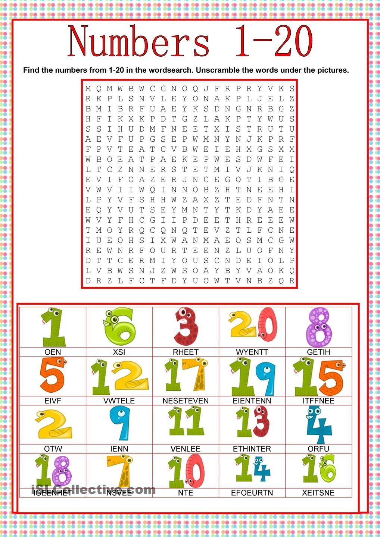 Numbers- Wordsearch (Com Imagens)   Fichas De Trabalho