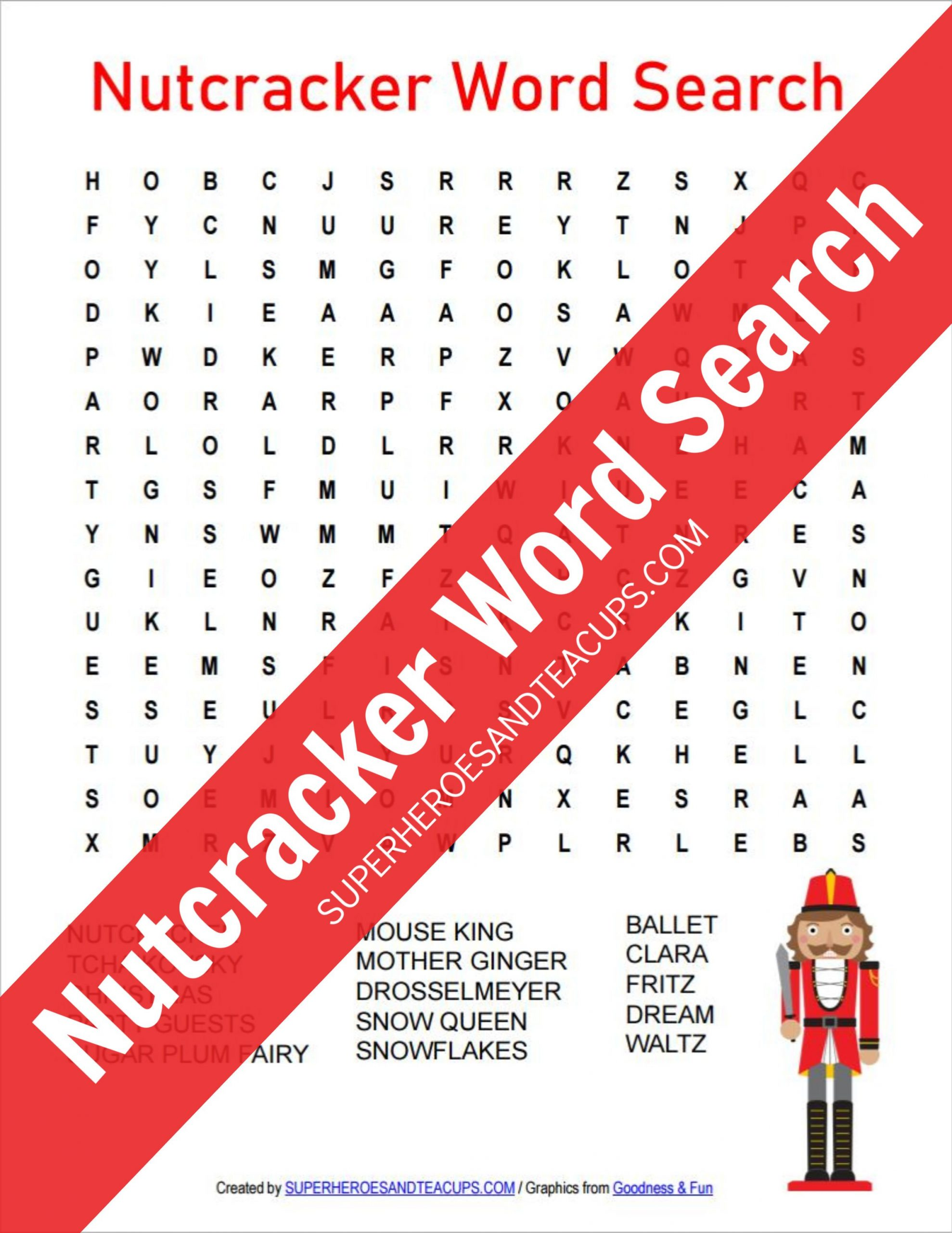Nutcracker Word Search Free Printable | Superheroes And Teacups