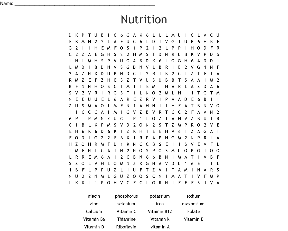 Nutrition Word Search - Wordmint
