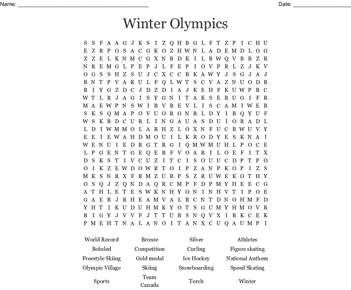 Olympic Games Word Search - Wordmint