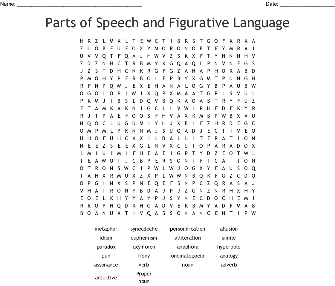 Parts Of Speech And Figurative Language Word Search - Wordmint