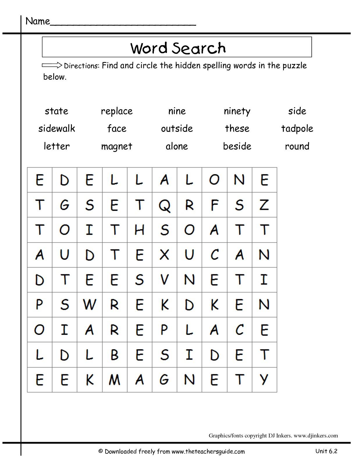 Peaceful 2Nd Grade Word Search Printable | Katrina Blog