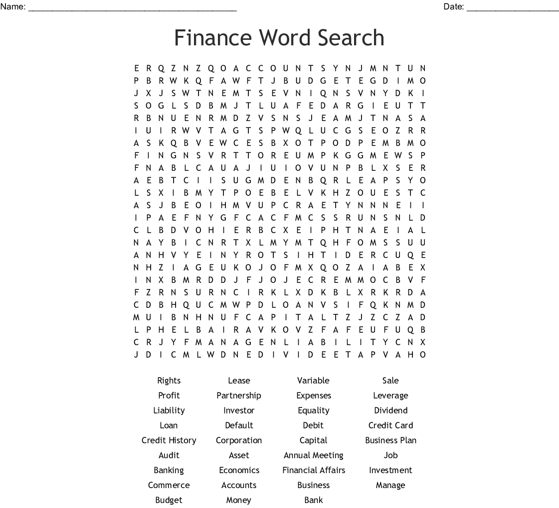 Personal Financial Literacy Word Search - Wordmint